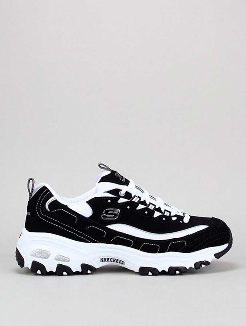 Zapatillas Skechers D´Lites con plataforma, modelo 11930, color negro-blanco bkw, vista lateral.