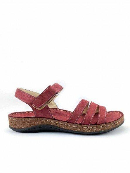 Comprar online sandalia acolchada Walk & Fly de mujer, de piel, modelo 3861 42670, color burdeos, vista lateral exterior.