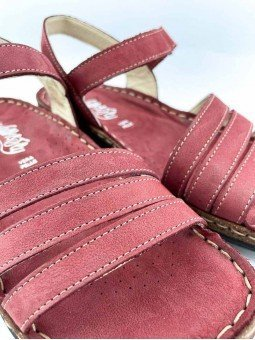 Comprar online sandalia acolchada Walk & Fly de mujer, de piel, modelo 3861 42670, color burdeos, vista detalle.