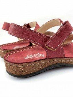 Comprar online sandalia acolchada Walk & Fly de mujer, de piel, modelo 3861 42670, color burdeos, vista talón